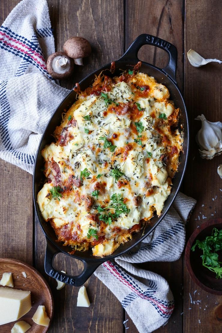 Three cheese mushroom bolognese spaghetti squash casserole