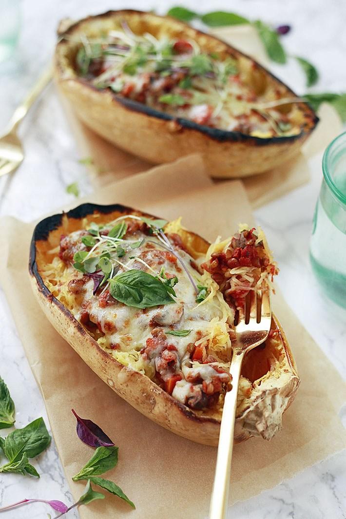 Vegan lentil bolognese spaghetti squash