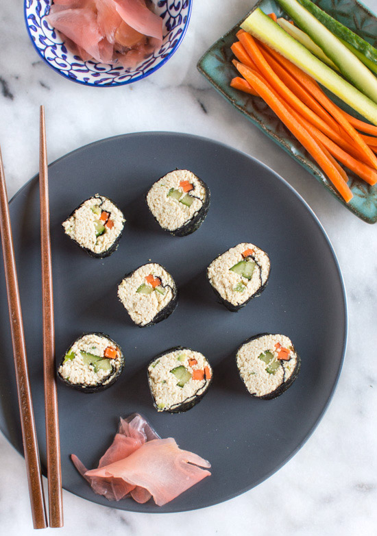 Grain free tofu sushi