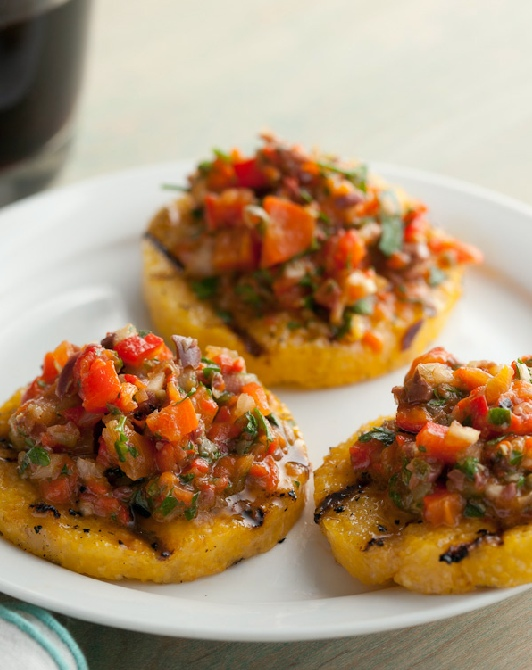 Griddled polenta with eggplant salsa
