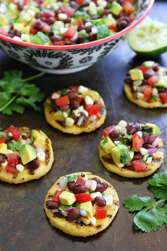 Grilled polenta rounds with black bean salsa 1