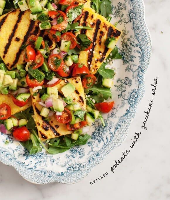 Grilled polenta & zucchini salsa