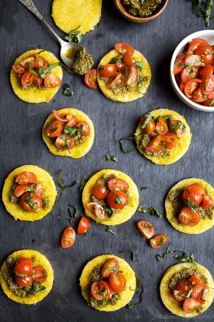 Pesto polenta bites with tomato bruschetta web 5