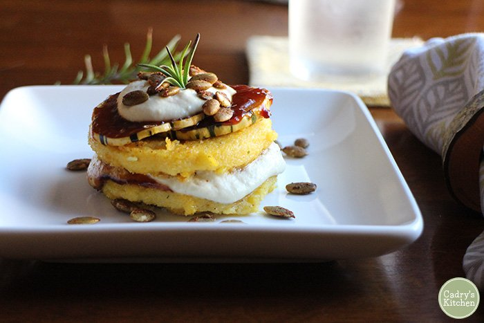 Vegan polenta stacks with squash & cashew cream