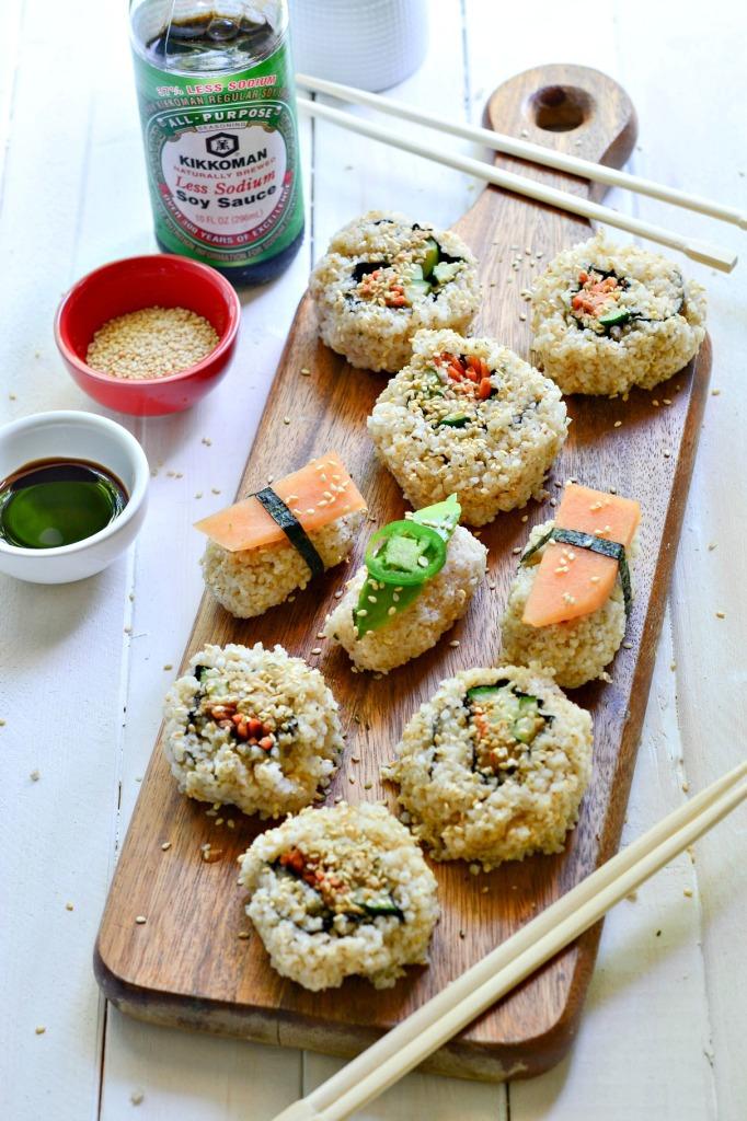 Vegan spicy tuna sushi