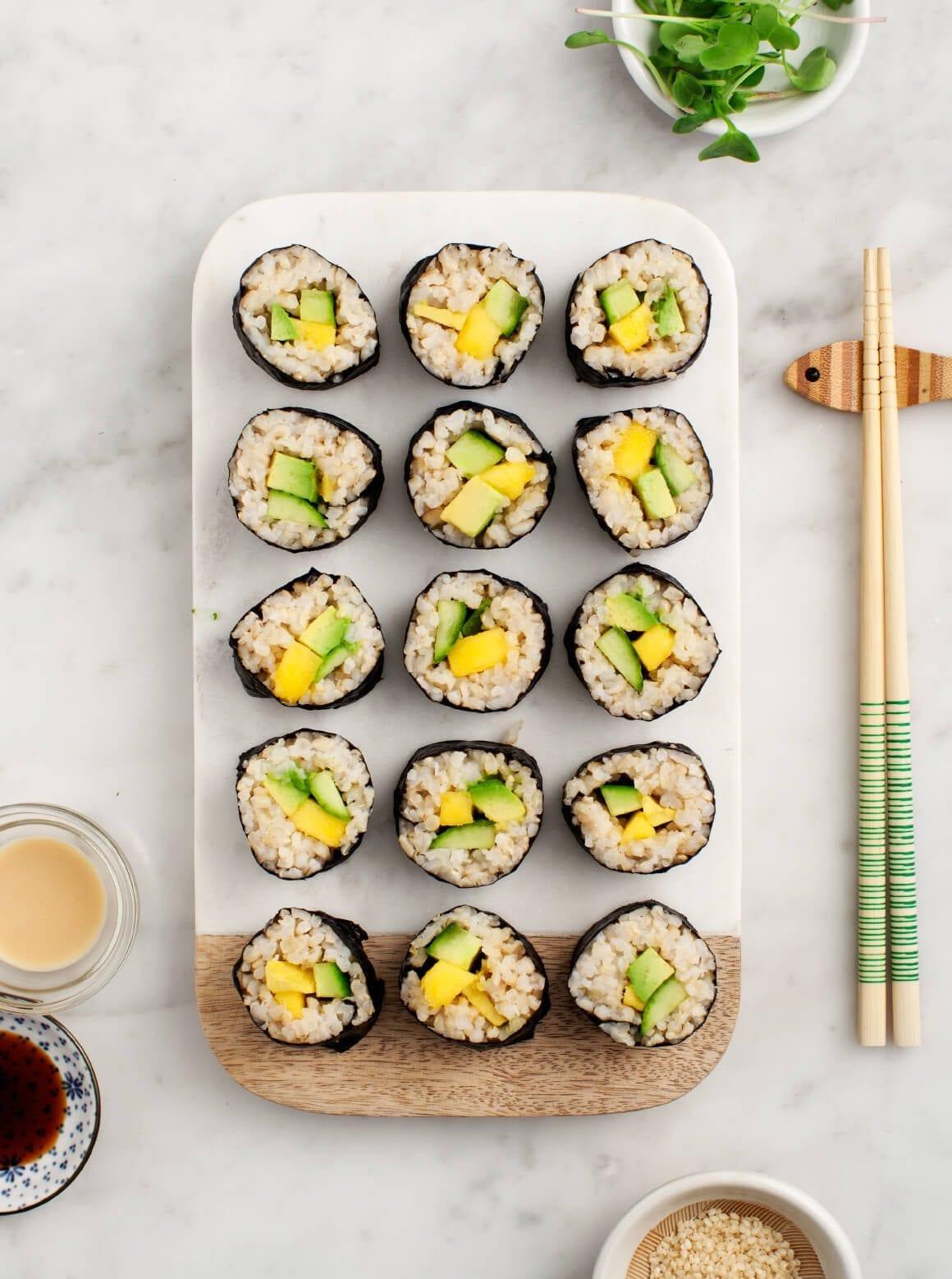 Avocado cucumber sushi roll