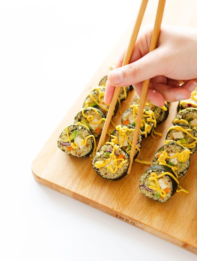 Coconut tempura tofu sushi