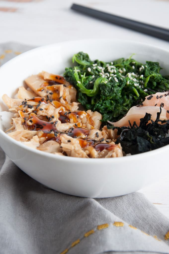 Teriyaki jackfruit sushi bowl