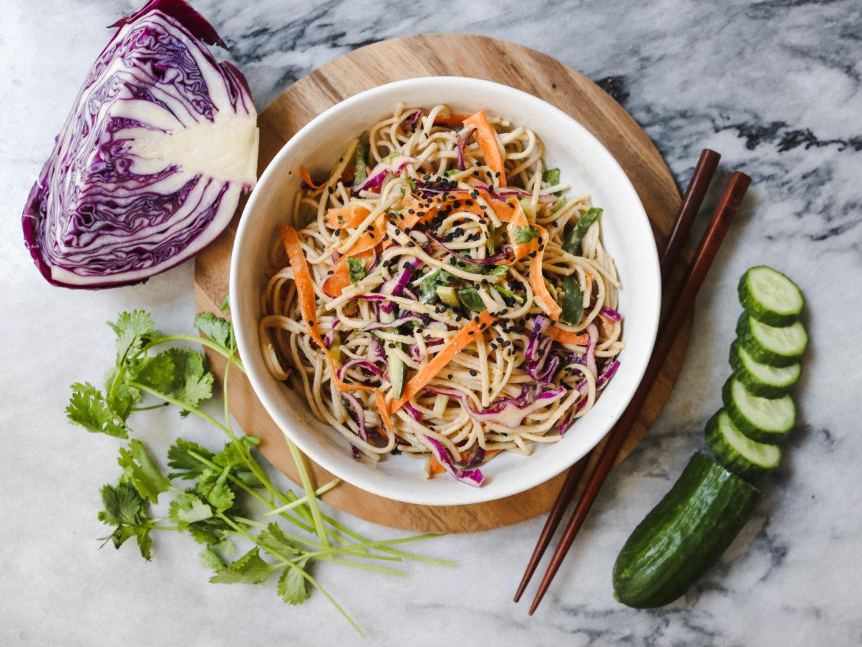 Cold soba noodle salad peanut sauce