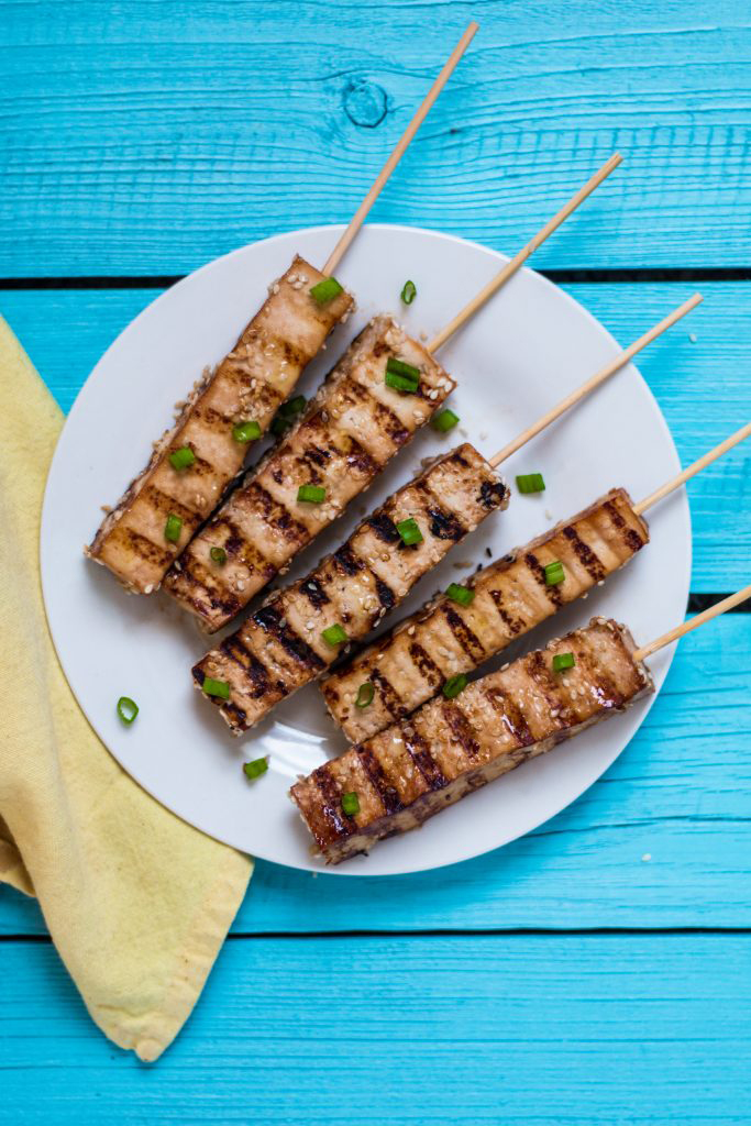 Easy tofu teriyaki skewers