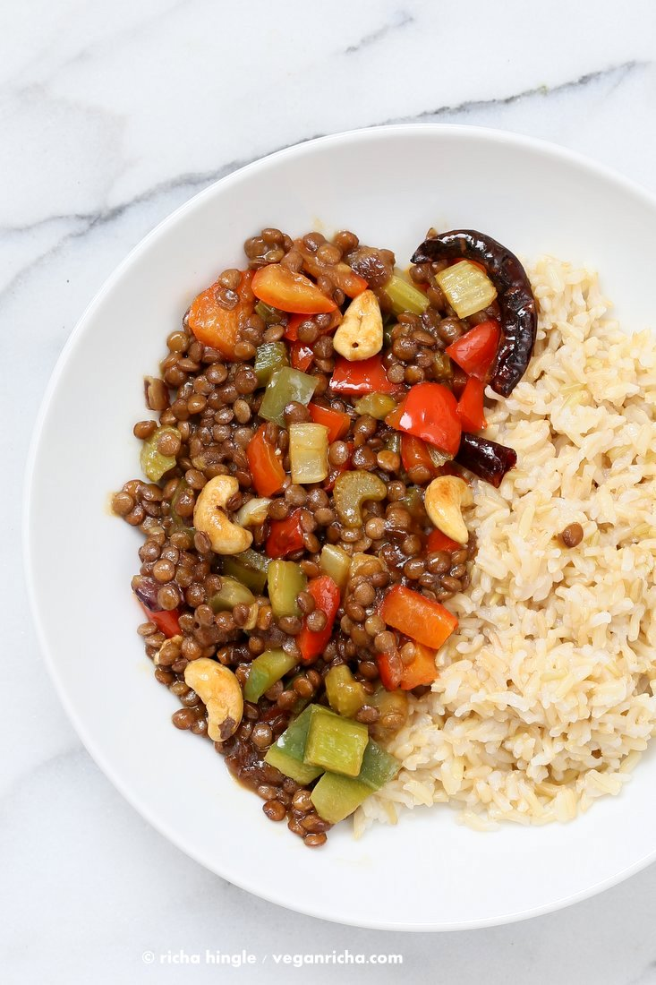 Kung pao lentils