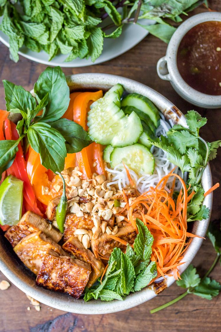 Vegan bun chay vietnamese noodle salad