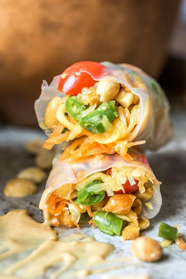 Vegan papaya salad rolls
