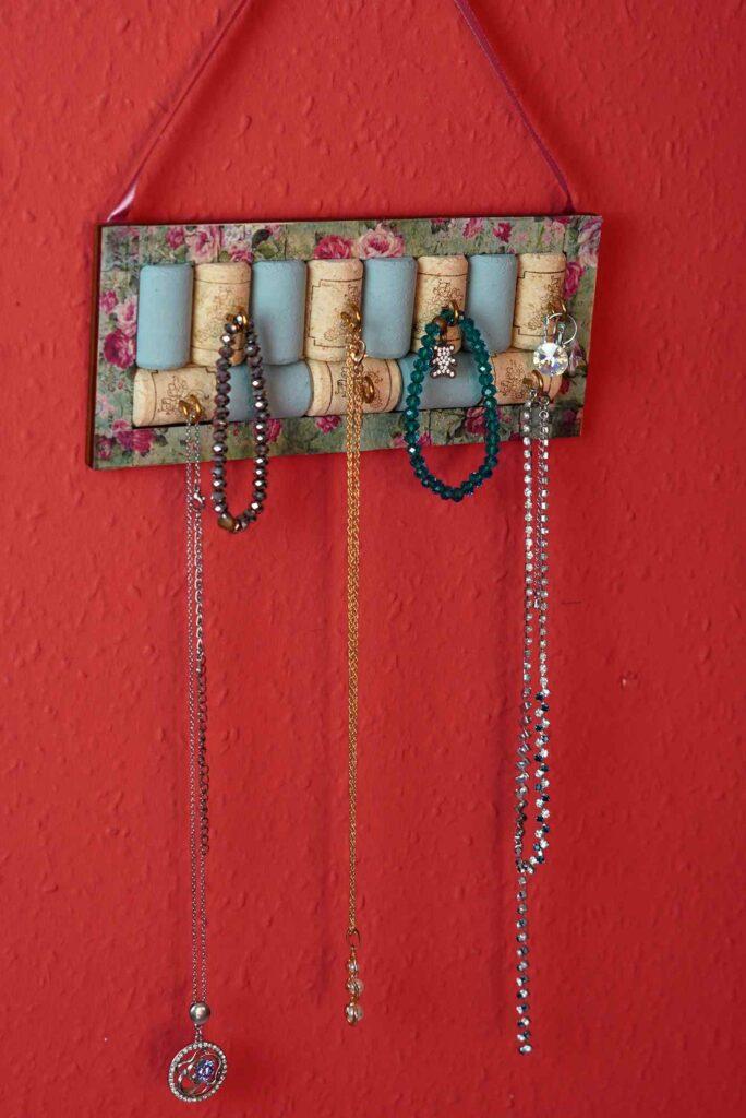 Diy wine cork jewelry organizer
