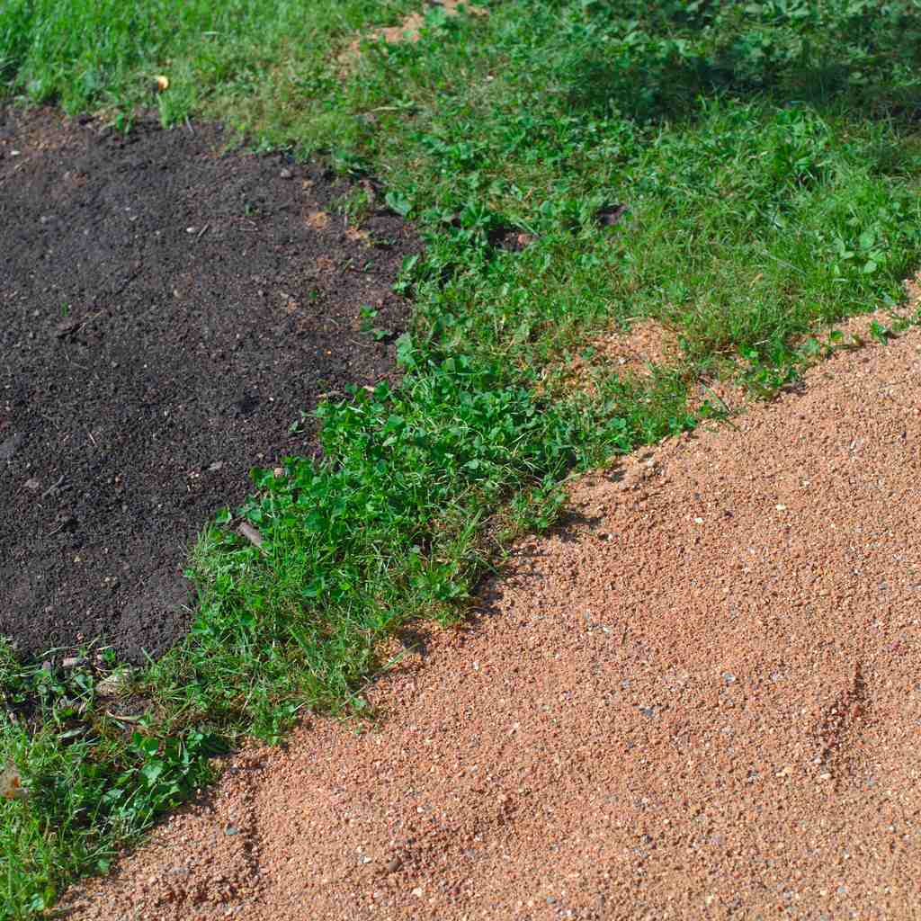 Sand, grass and soil