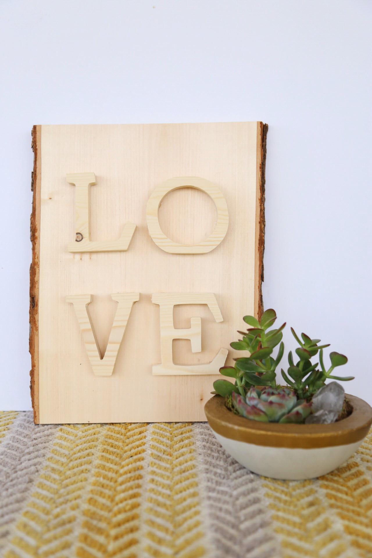 Love wood sign