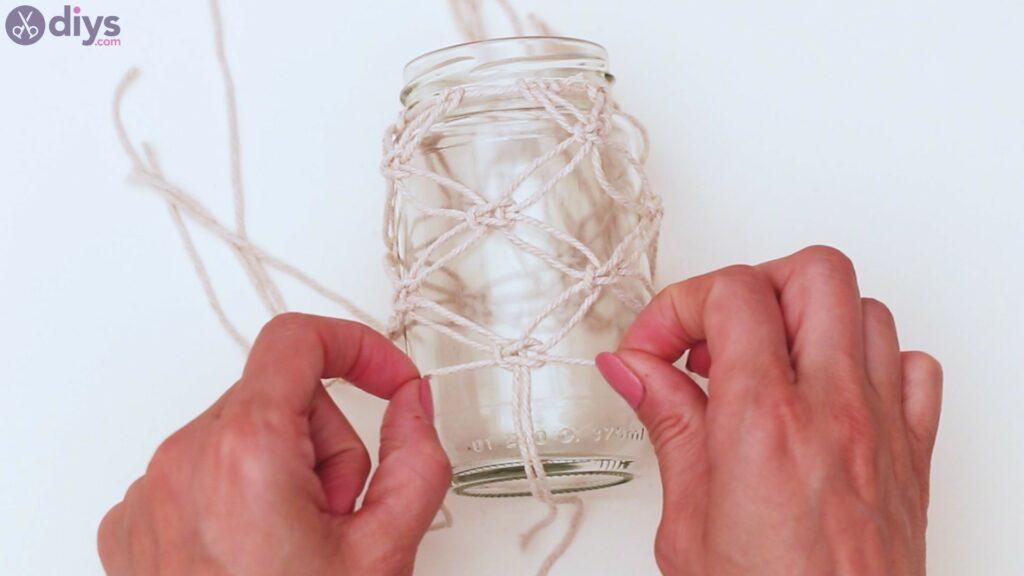 Macrame wrapped mason jar steps (24)