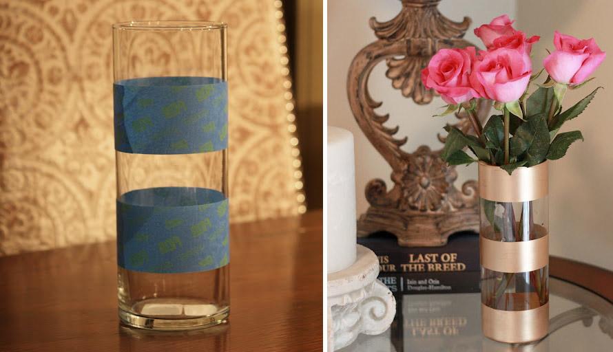 Paint on Glass - DIY Gold Leaf Vase
