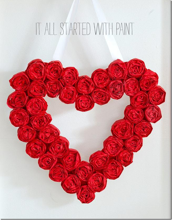 Paper rose heart