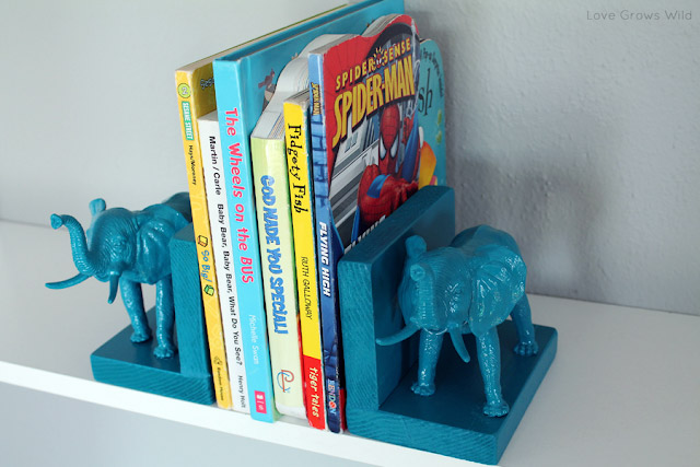 Plastic elephant bookends crafts