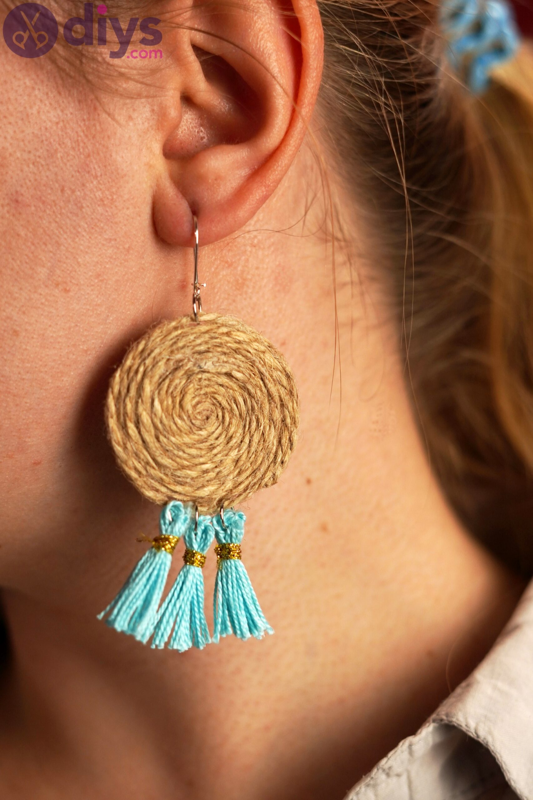 Raffia tassle earrings photos (5)