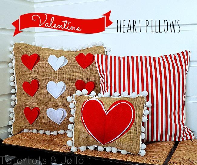 Valentine's pom pom pillows