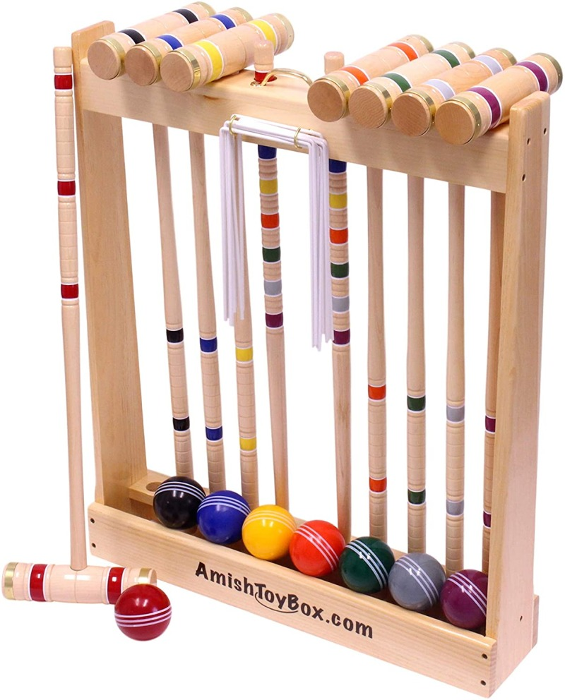 Amish crafted deluxe 8 player croquet game set, maple hardwood