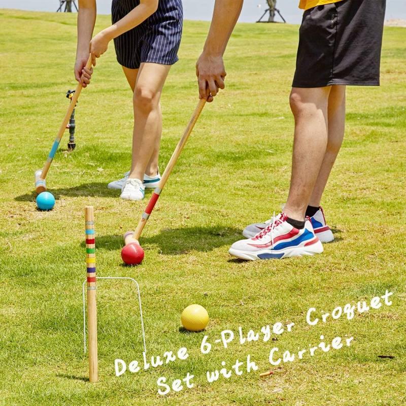 Apudarmis six player croquet set with premiun pine wooden mallets