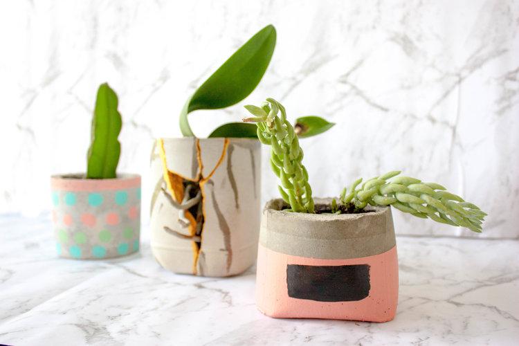 Cement planter pots