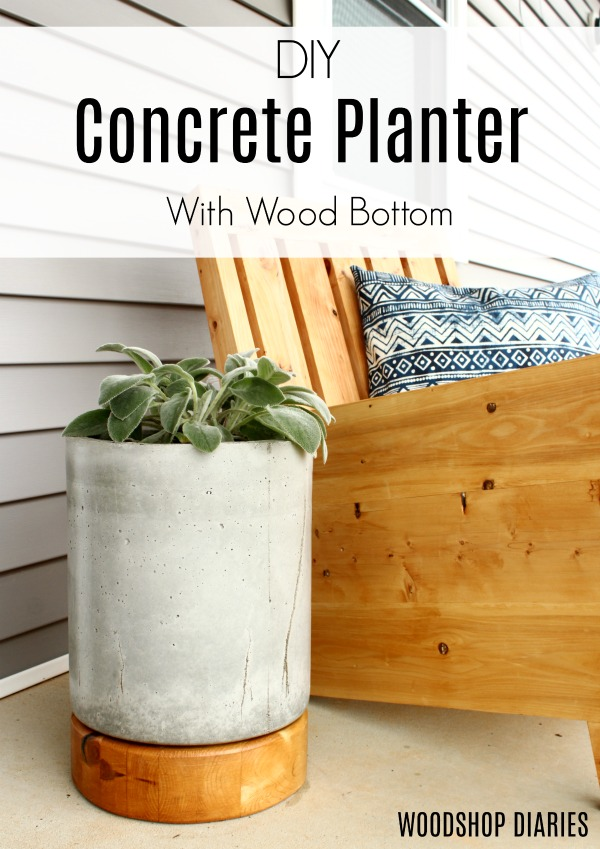 Concrete planter with wooden base
