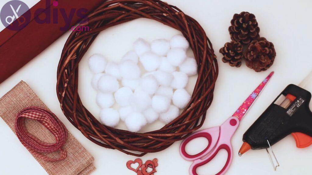 Cotton flower wreath materials