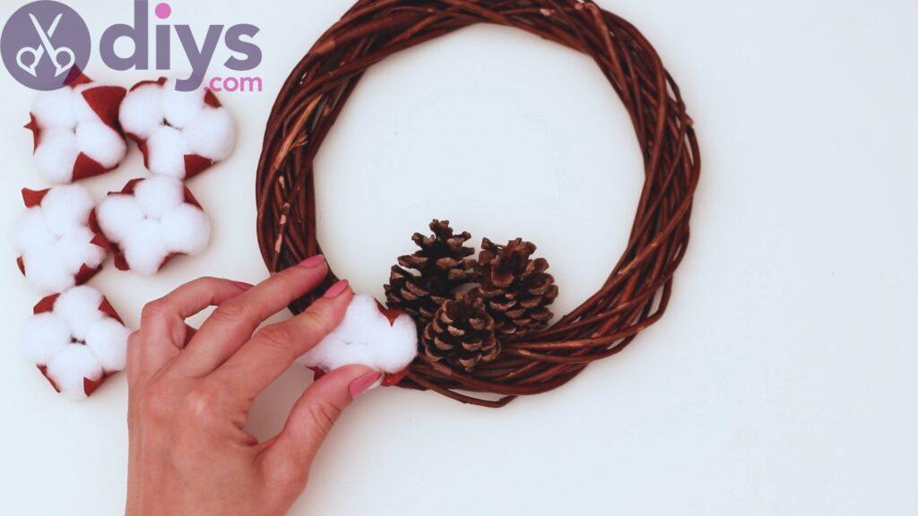 Cotton flower wreath steps (24)