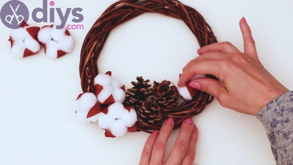 Cotton flower wreath steps (27)