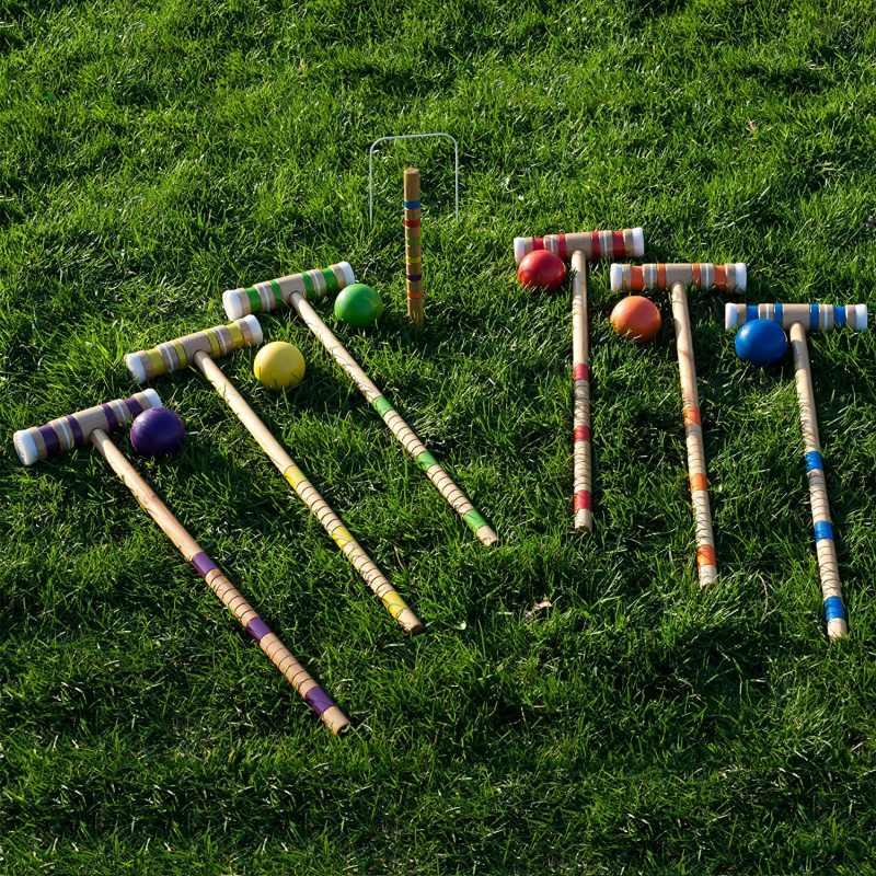 Croquet set wooden outdoor deluxe sports