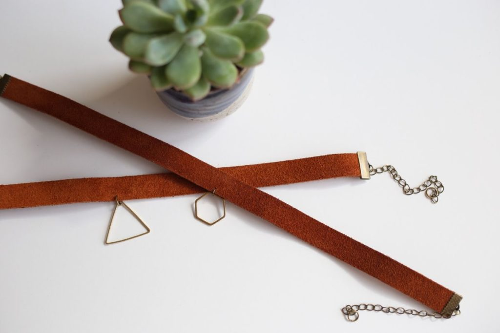 Diy charm leather choker necklace
