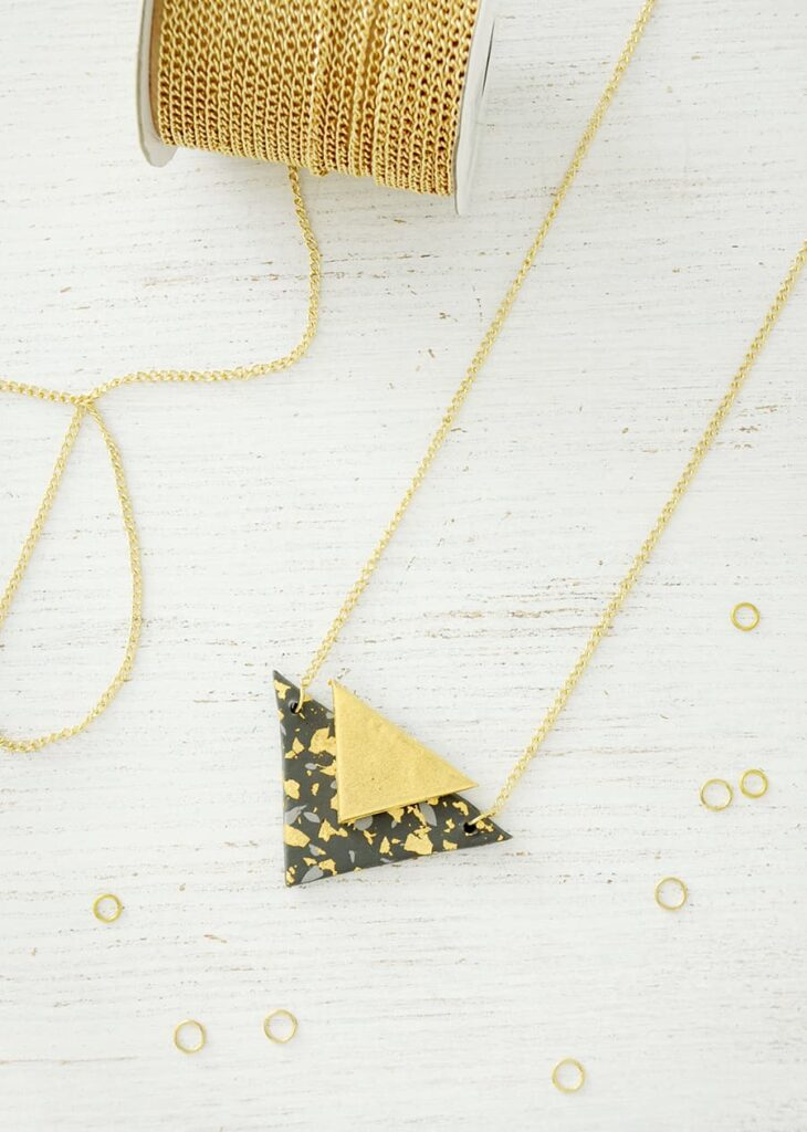 Diy gilded polymer clay triangle necklace