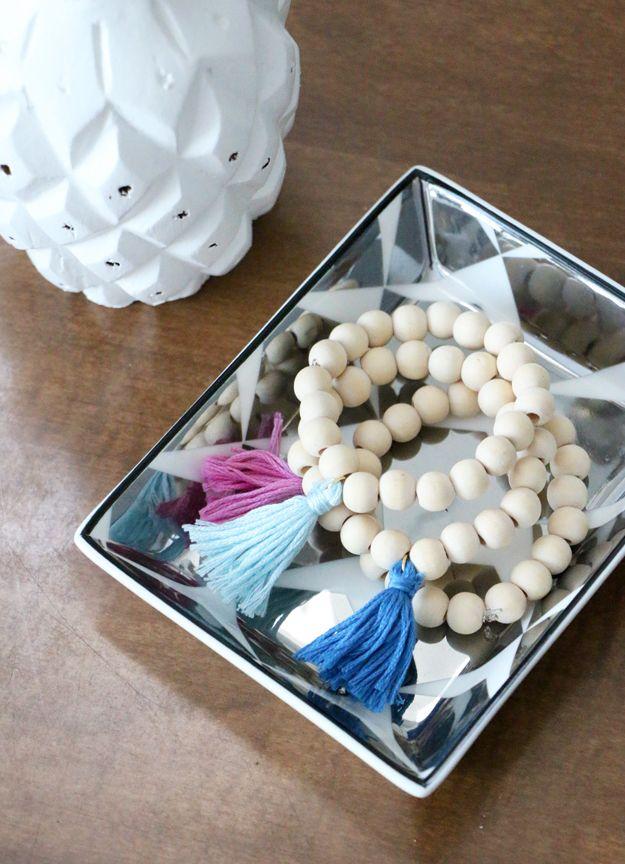 Diy wooden tassel bracelet