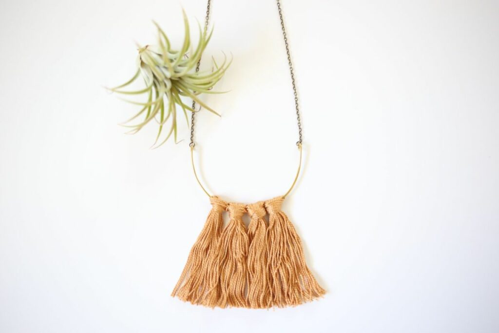 Fringe brass necklace