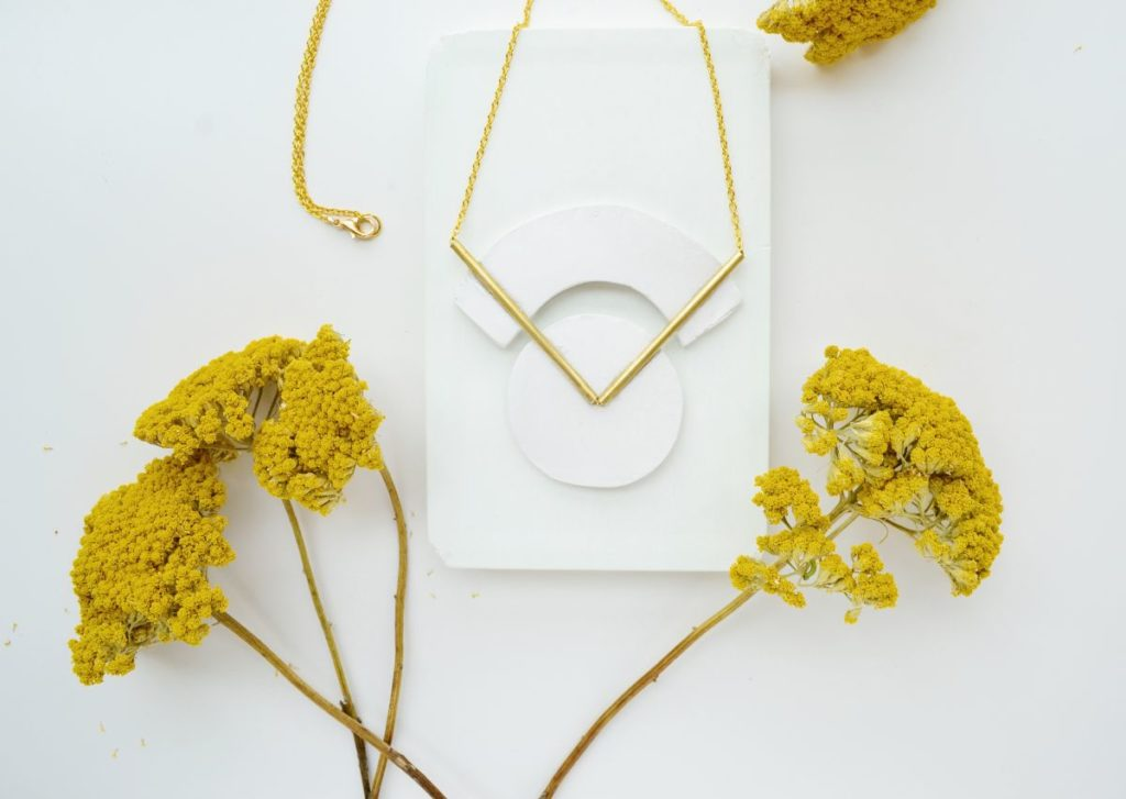 Geometrical brass necklace