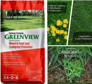 Greenview 2129267 weed and feed with crabgrass preventer fairway formula