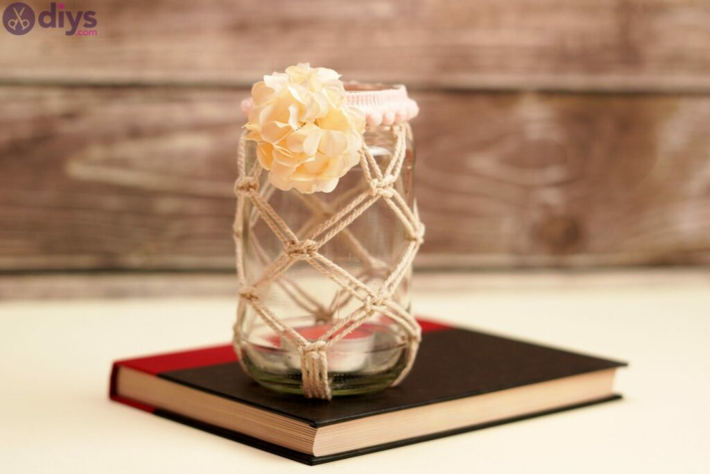 Macrame wrapped mason jar