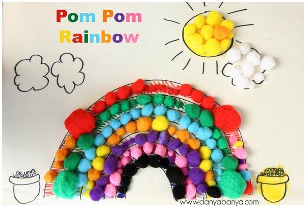 Pom pom rainbow collage