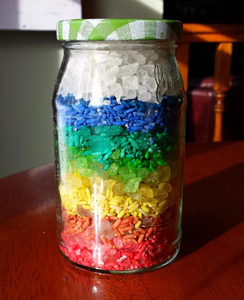 Rainbow rice in a jar