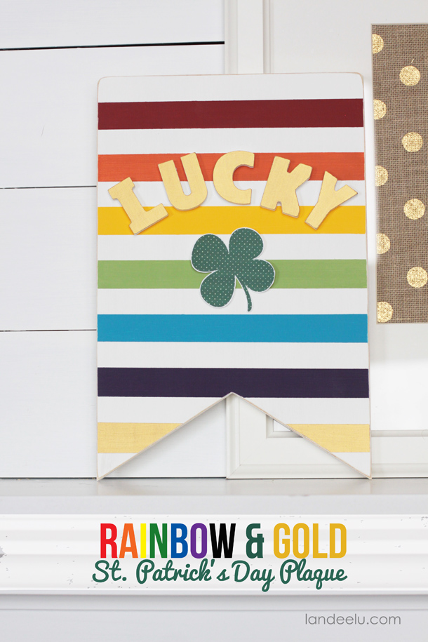 Rainbow and gold st patrick's day sign