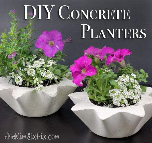 Scalloped concrete planters
