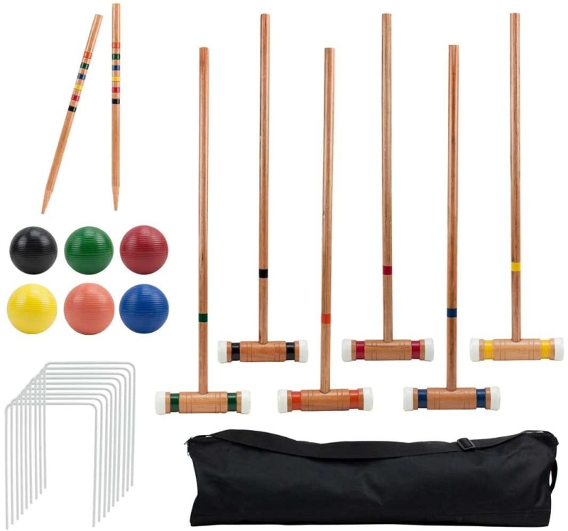 Six player deluxe croquet set with wooden mallets
