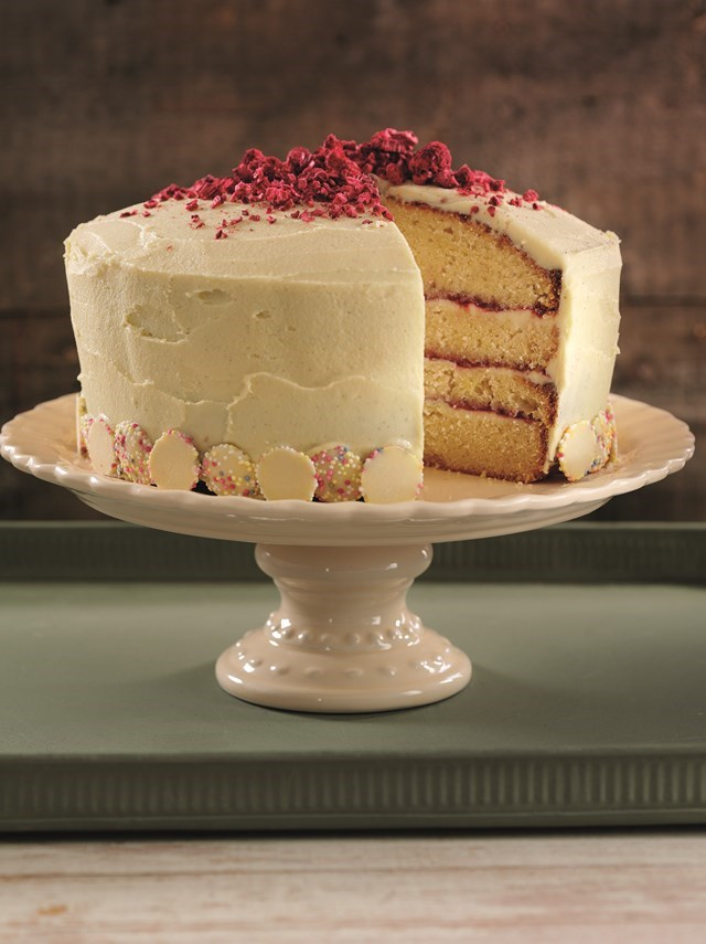 Vanilla, raspberry & white chocolate layered sponge cake