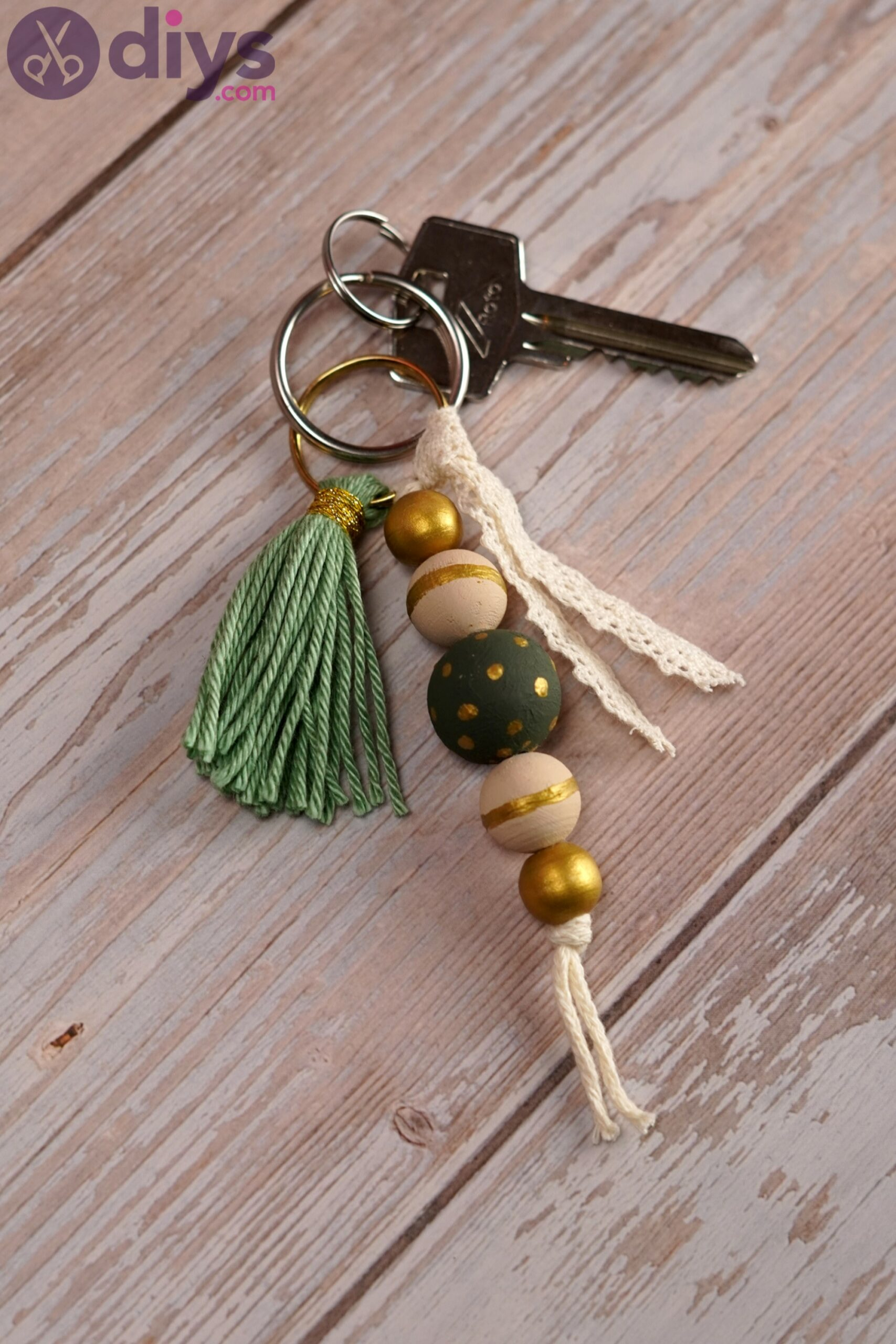 Wooden bead key chain photos (3)