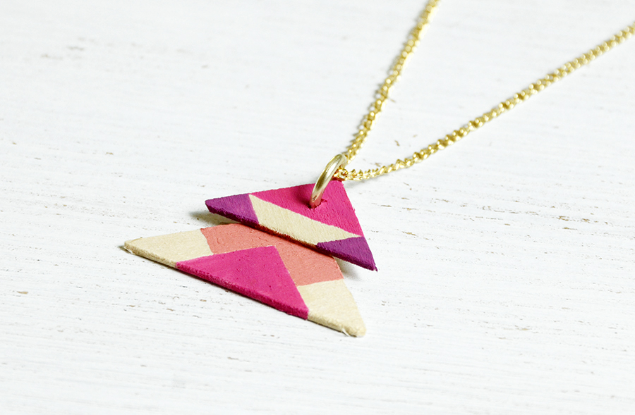 Wooden triangle necklace tutorial