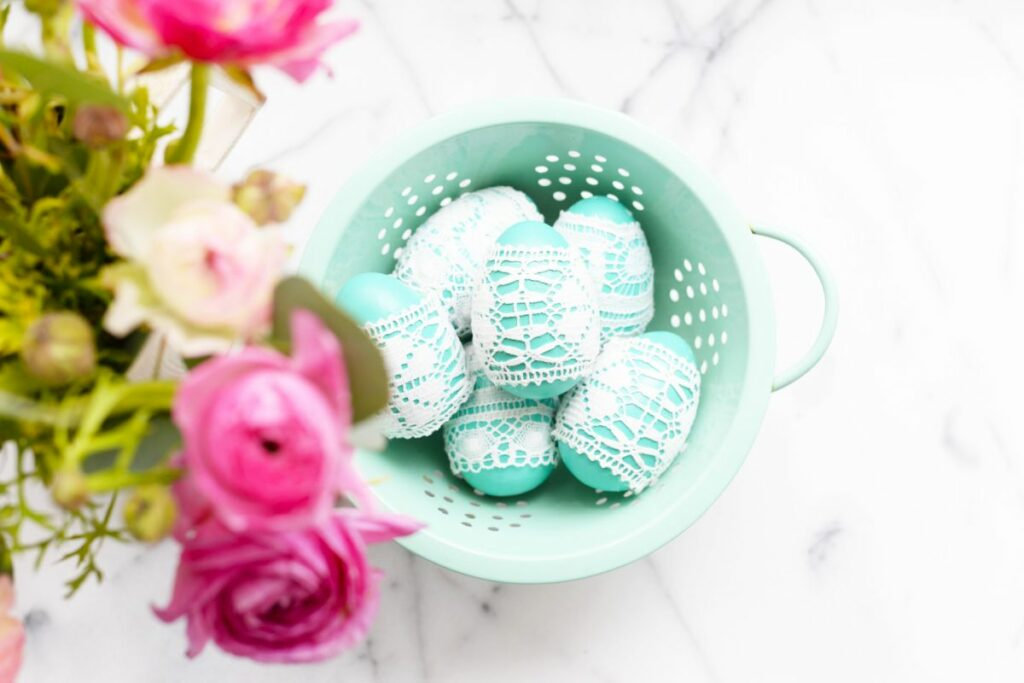 Lace easter eggs